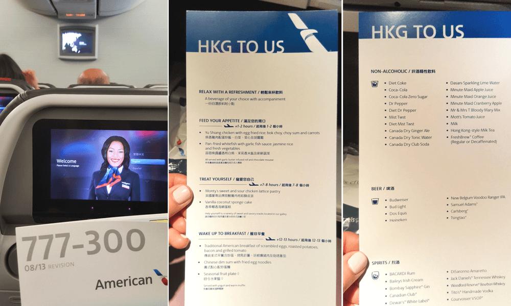 American Airlines's Menu on Long-Haul Flight