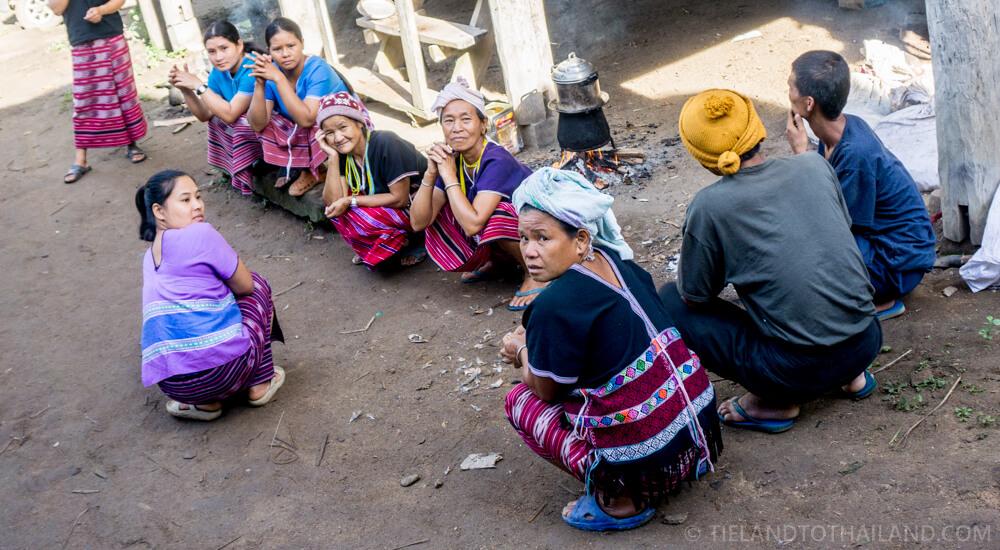 Hill tribe women socializing in the Ban Lam Kam village