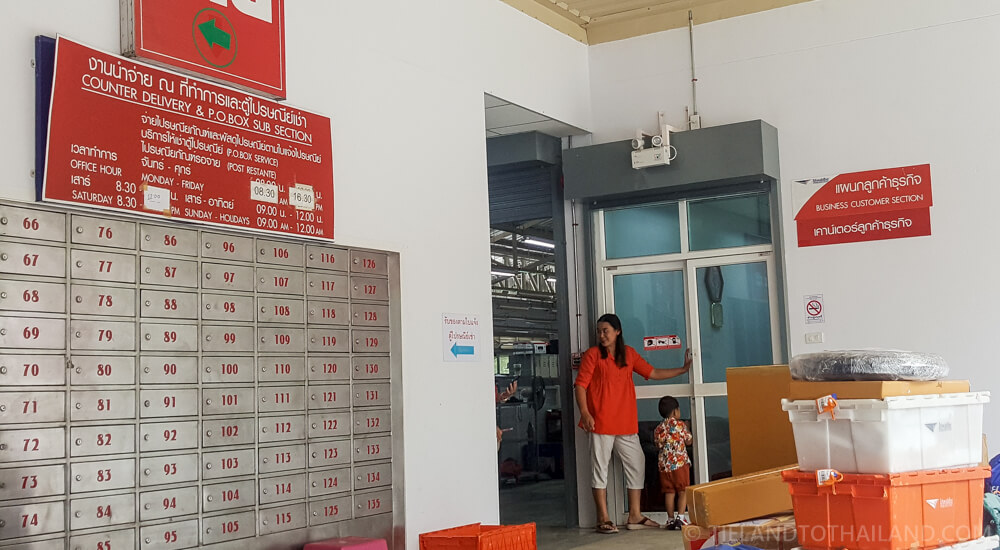 Charoen Mueang Post Office in Chiang Mai - Ship motorbike at the business customer section.