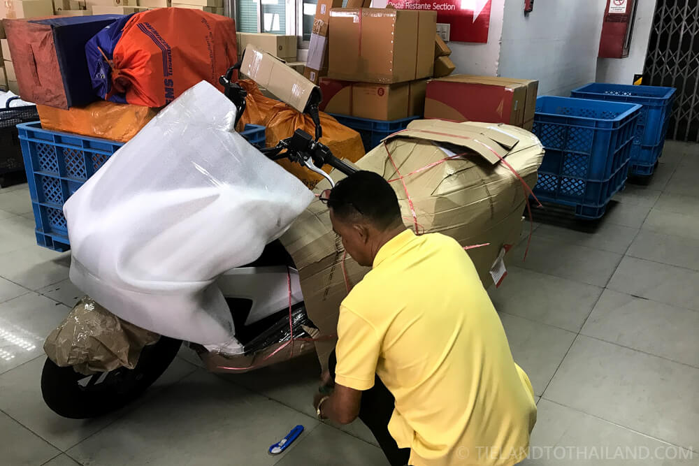 Motorcycle Wrapped for Thai Post Shipment