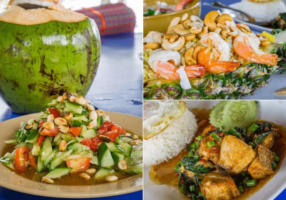 Fresh coconut, papaya salad, pineapple fried rice, and stir-fried basil with fish at Bon Island Restaurant