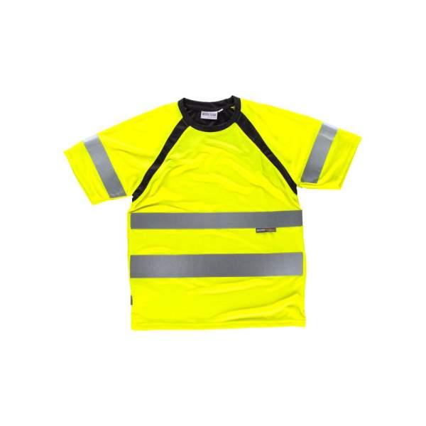 camiseta-workteam-alta-visibilidad-c2941-amarillo-fluor-negro