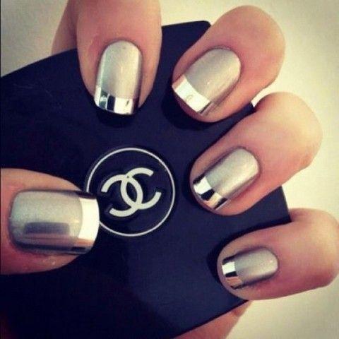 uñas en color plata