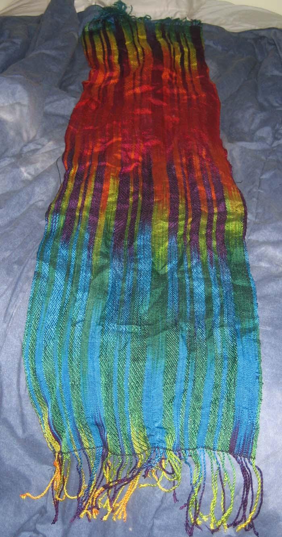 painted warp shawl