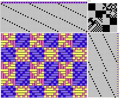 The same doubleweave draft, showing only the bottom face of cloth.