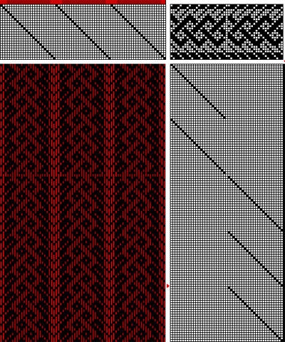 A three-strand Celtic braid, 24-shaft weaving draft