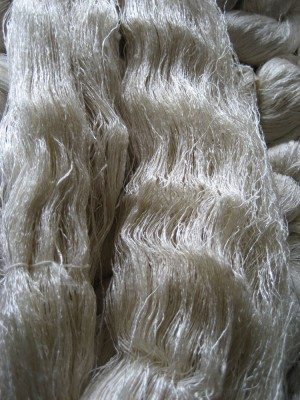 Skein of hand-reeled silk yarn from Laos