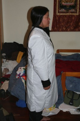 Panel style coat, side view