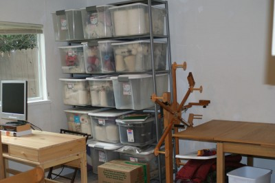 Stash storage in the new fiber arts studio