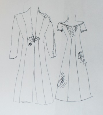 Sketches of new dress designs