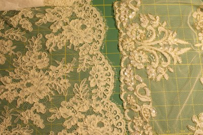 Left, quality Alencon lace; right, cheap Alencon lace