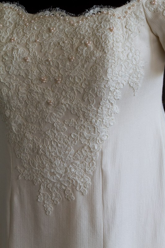 handwoven wedding dress with lace and pearls