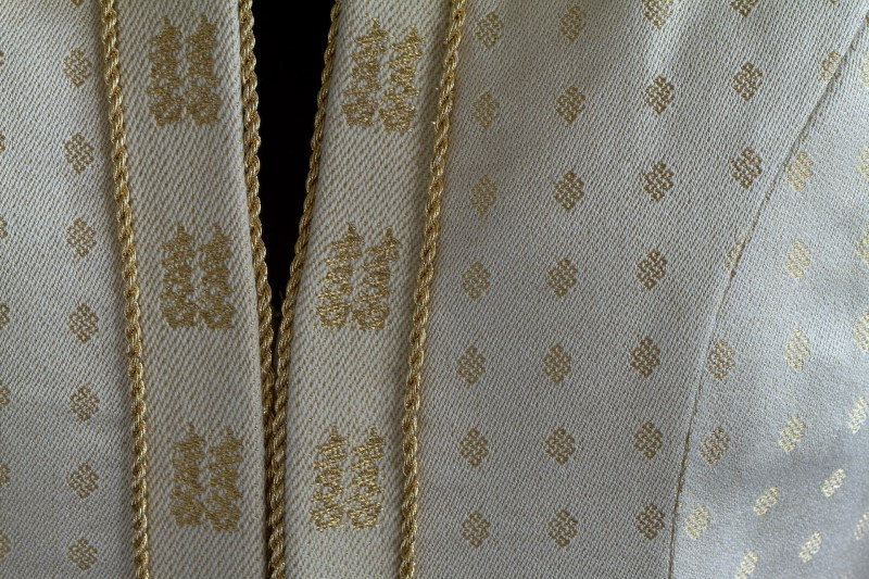 handwoven wedding dress, closeup