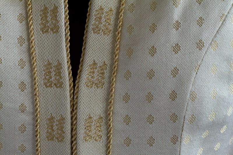 handwoven wedding dress, closeup