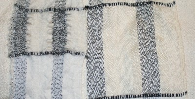 Differential shrinkage, Lycra warp alternating with 12/2 cotton warp, high-twist wool singles.