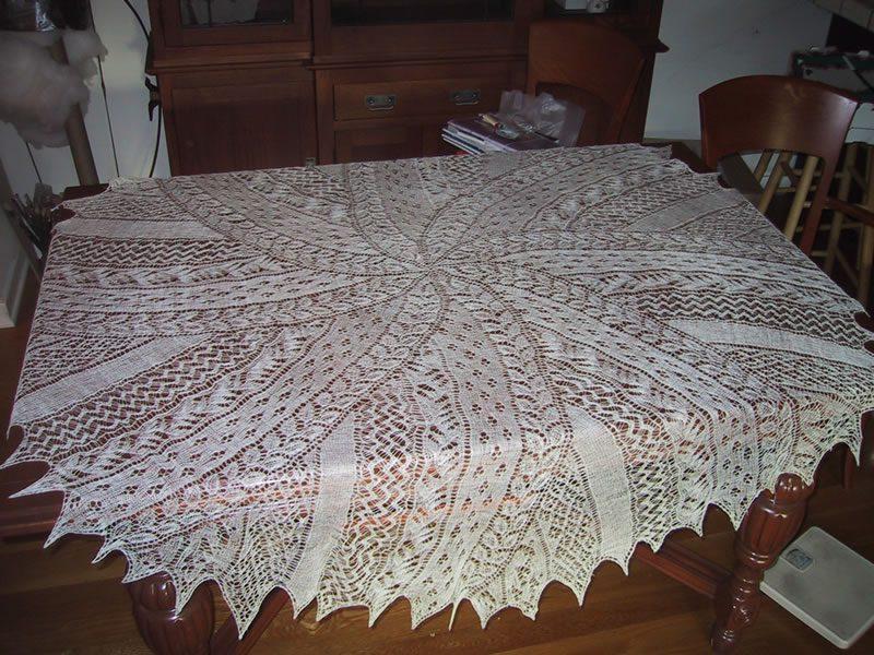 Handspun, hand-knitted Spiral Shawl