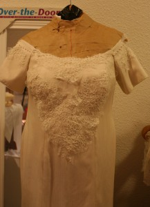 handwoven wedding dress, scalloped neckline with pearls