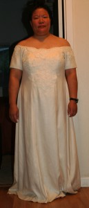 handwoven wedding dress, lace basted together