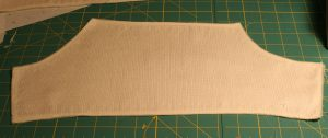 Sleeve pattern piece, with neatly finished edges