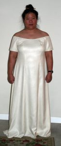handwoven wedding dress, front view