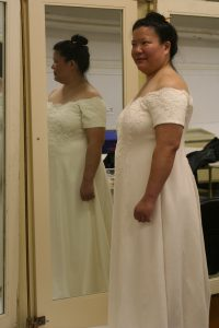 handwoven wedding dress, partially complete, various views