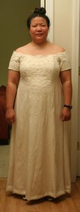 handwoven wedding dress, almost complete