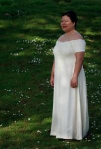 handwoven wedding dress, three-quarter view
