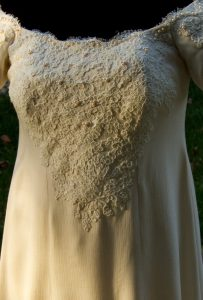 handwoven wedding dress, close-up view