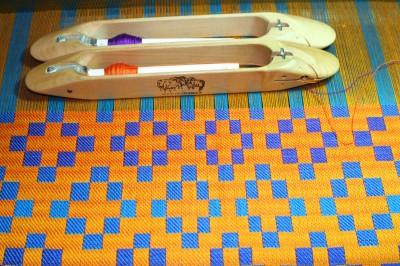 handwoven doubleweave shawl, on the loom