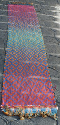 Second handwoven doubleweave shawl, blue/purple side, full view