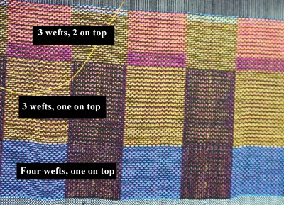 woven taquete samples, 3 and 4 wefts