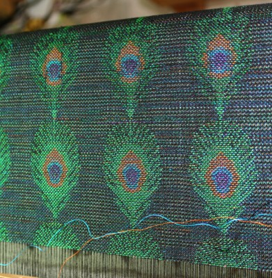 3rd version of handwoven peacock feather design