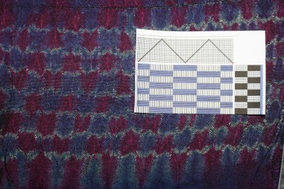 woven shibori, ties floating alternately over back and front in rectangular pattern
