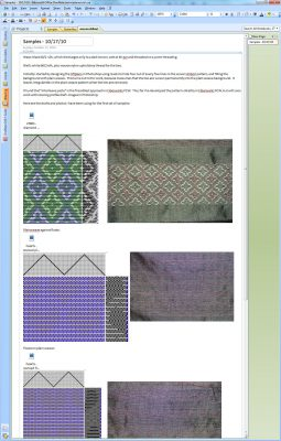 OneNote notebook page on woven shibori samples