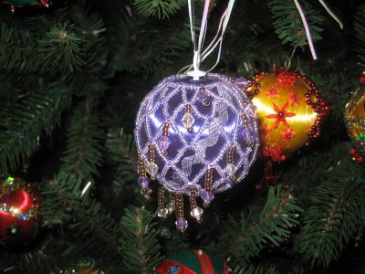 Ornament with beaded netting