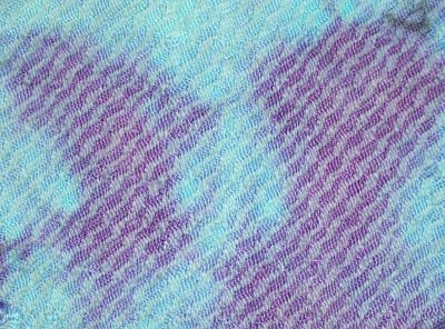 fiber-reactive dyes: scrunch-dyed in turquoise and purple