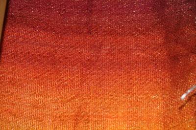 first sample - painted warp, knitted blank