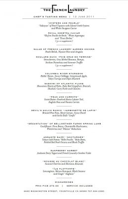 Nine-course tasting menu at The French Laundry