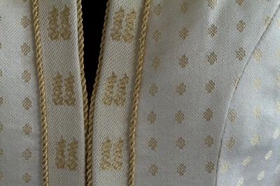closeup of wedding coat