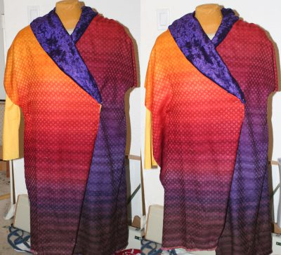 colored muslin, actual fabric - two views