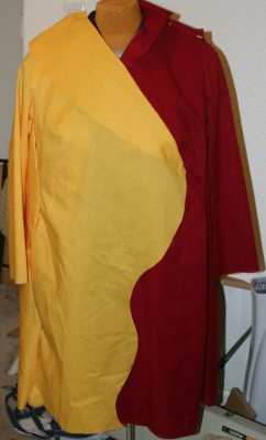 front of pinned-together, curved muslin