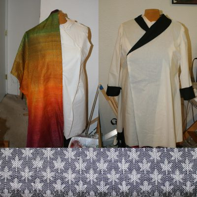 composite photo showing colors, muslin, and proposed draft for Autumn Splendor