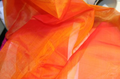 iridescent orange/gold silk organza, handwoven in Cambodia