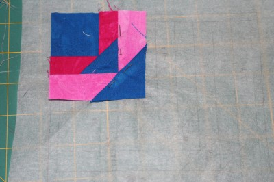 partially sewn quilt block