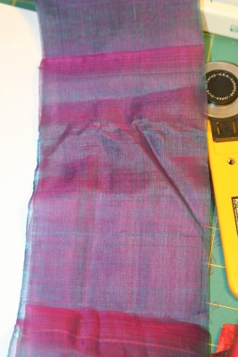iridescent purple organza, also handwoven in Cambodia