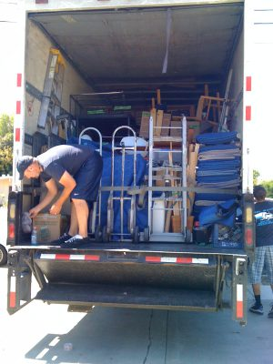 a twenty-six foot moving truck, fully packed