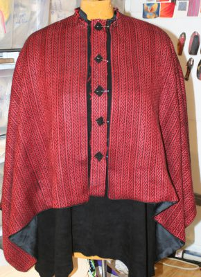 semi-finished cape, with inset Celtic braid fabric