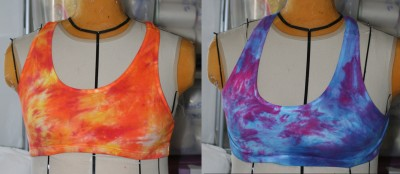 dyed cotton sports bras