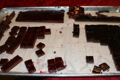 grape jelly/peanut gianduja and raspberry-orange/hazelnut gianduja squares, before dipping in dark chocolate