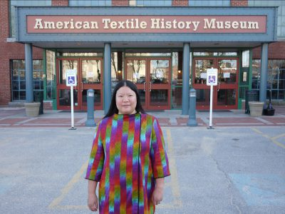 Tien arriving at the American Textile History Museum